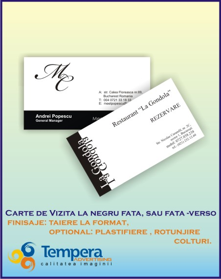 carti de vizita print la negru