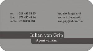 Model carte de vizita agent de vanzari